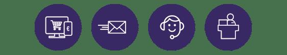 Mail, téléphone (VAD), vente en ligne, comptoir