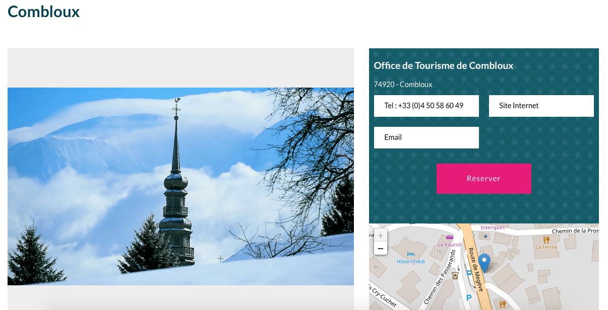 site de l'office de tourisme de Combloux, etude de cas, gestion de réservation en ligne, welogin